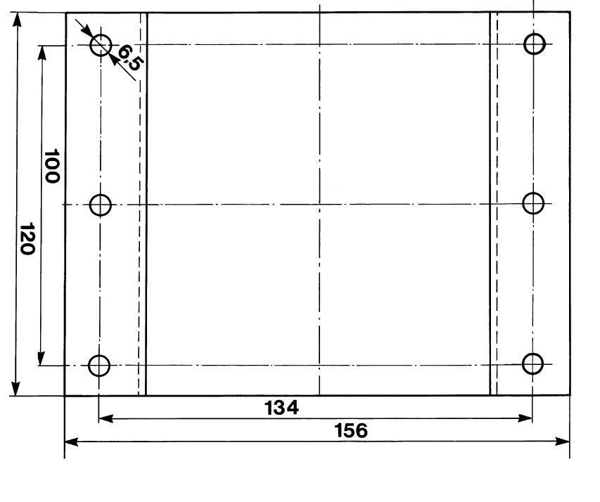 Шаблон для отверстий в кронштейне подогревателя, масштаб 1:1