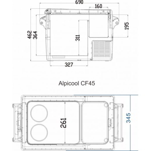 Двухкамерный автохолодильникAlpicool CF45
