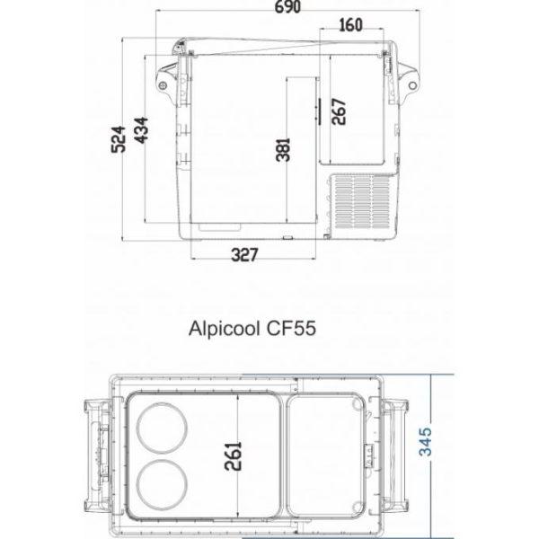 Двухкамерный автохолодильник Alpicool CF55