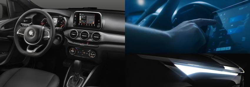 Слева показан салон Fiat Argo, справа — макет интерьера Fiat 363